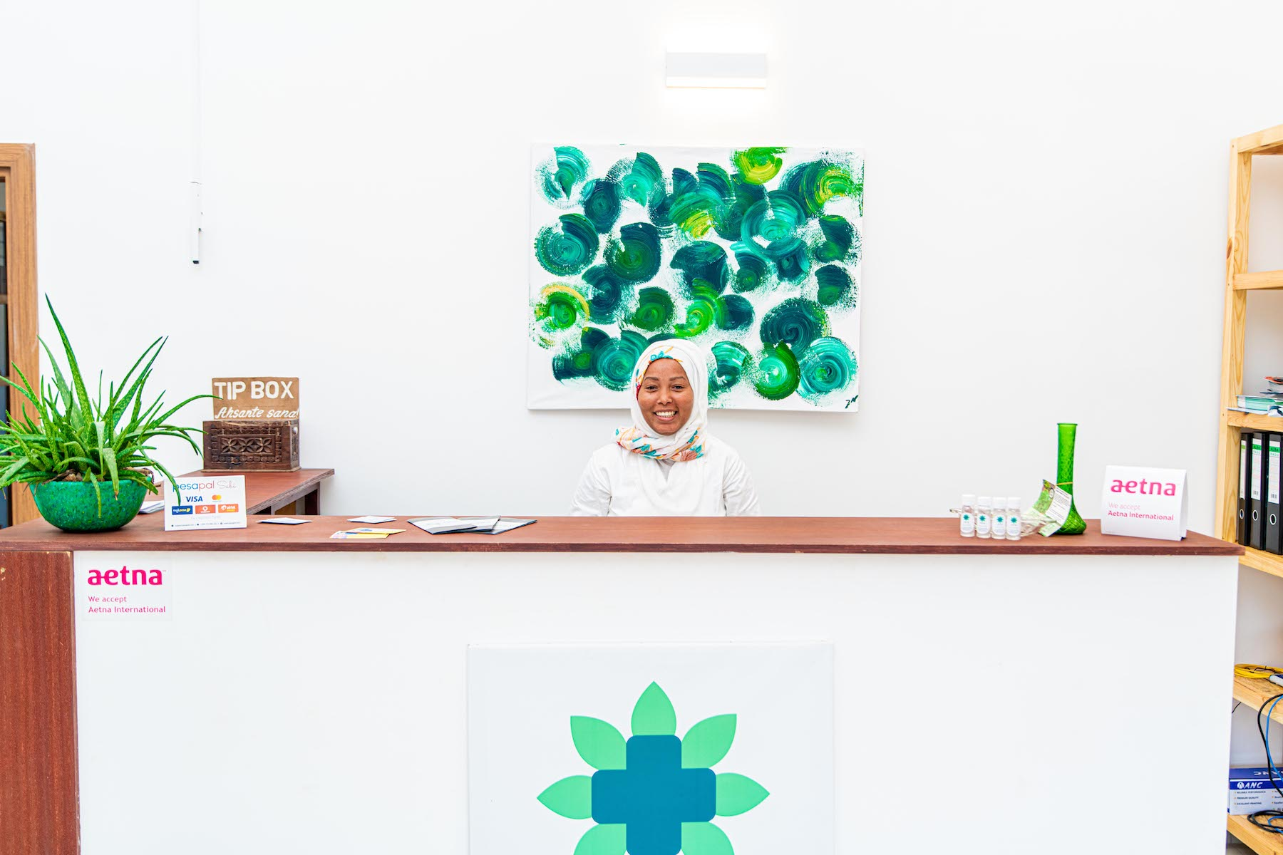 Friendly receptionist at reception of Urban Care Clinic Zanzibar