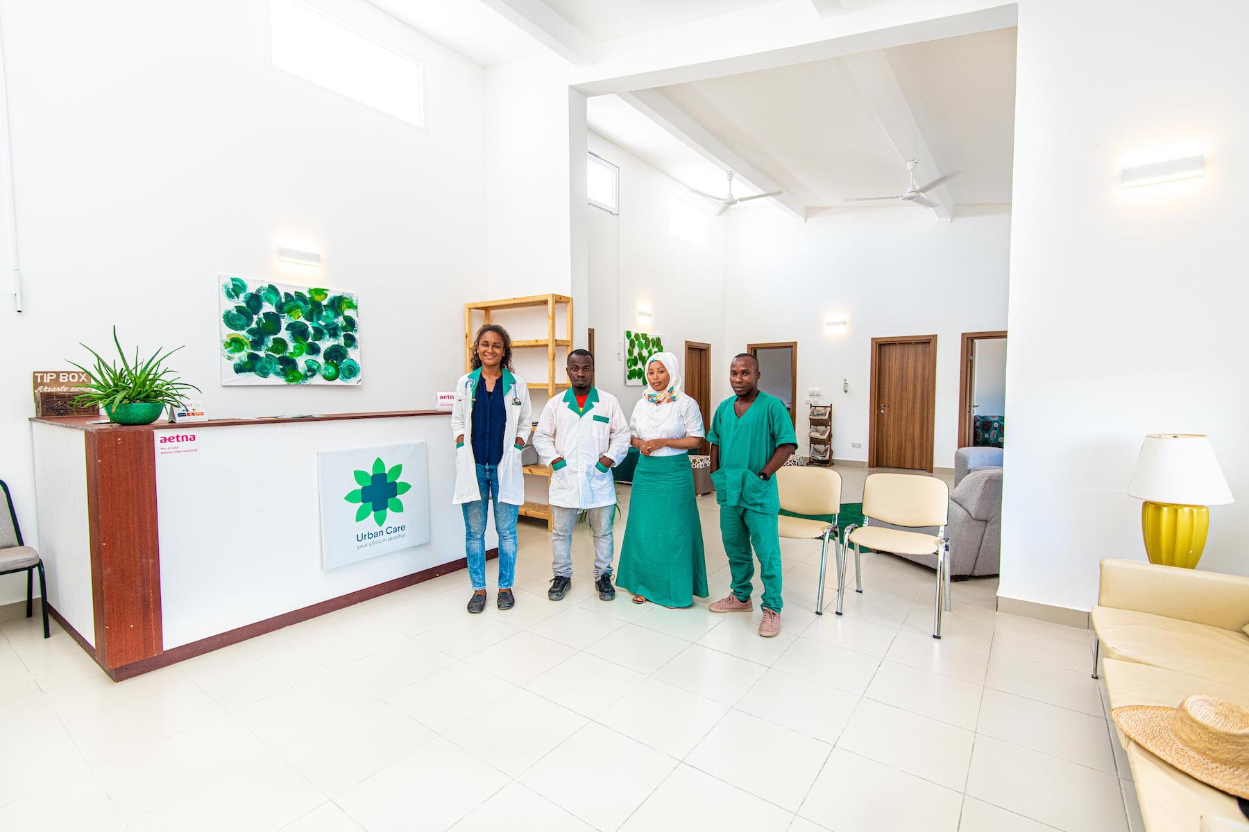 Urban Care Clinic Zanzibar staff members in reception area